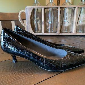 Stuart Weitzman Poco crocodile kitten heel shoe